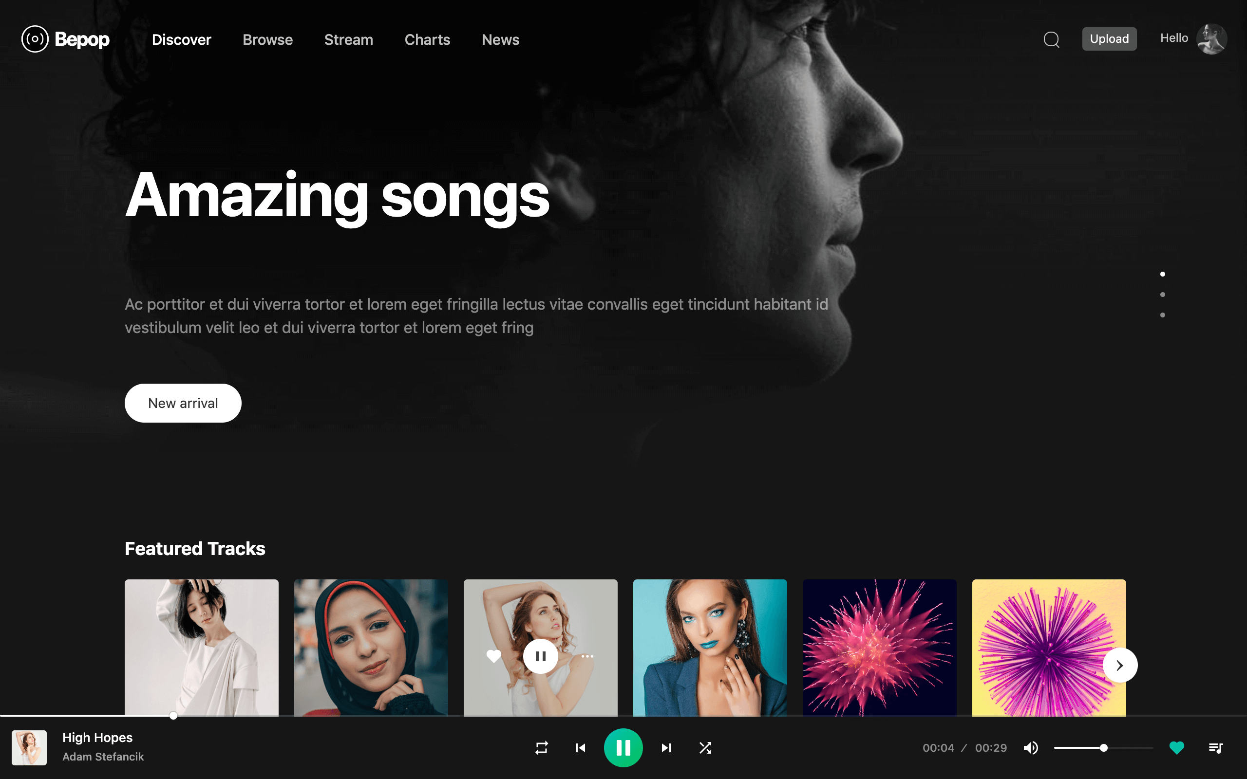 Bepop - Non-stop Music WordPress Theme - 1